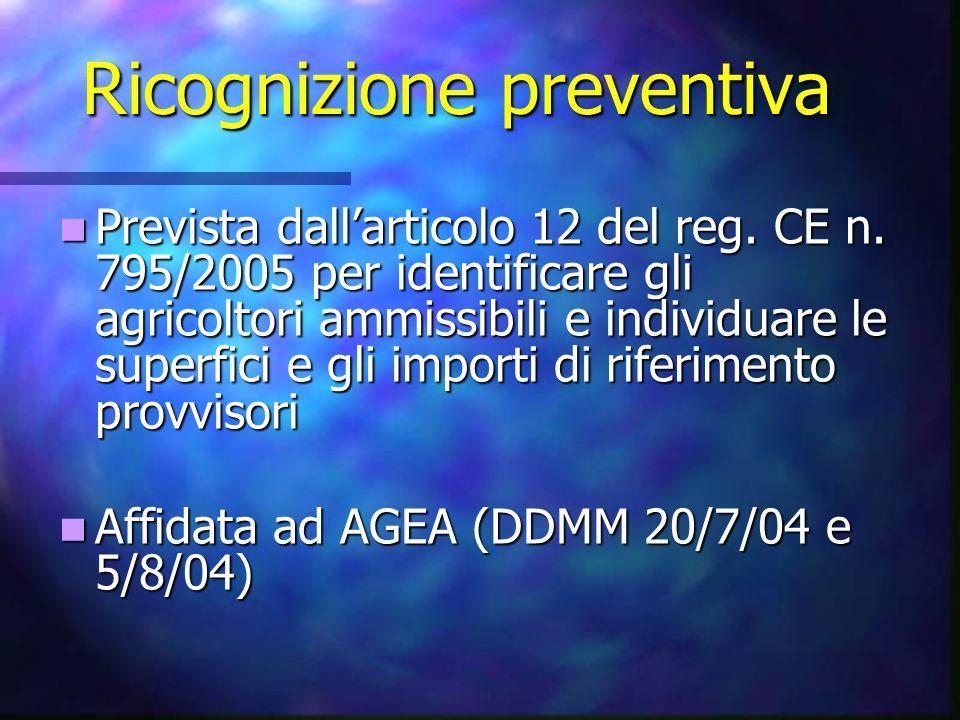 Ricognizione preventiva Prevista dallarticolo 12 del reg. CE n. 795/2005 per identificare gli agricoltori ammissibili e individuare le superfici e gli