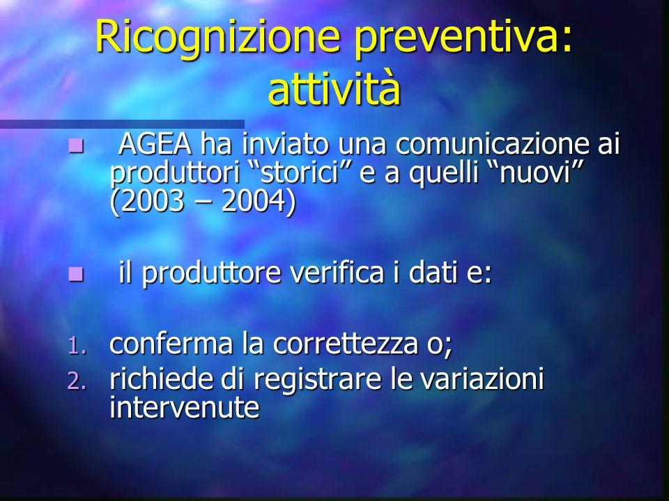 Ricognizione preventiva: attività AGEA ha inviato una comunicazione ai produttori storici e a quelli nuovi (2003 – 2004) AGEA ha inviato una comunicaz
