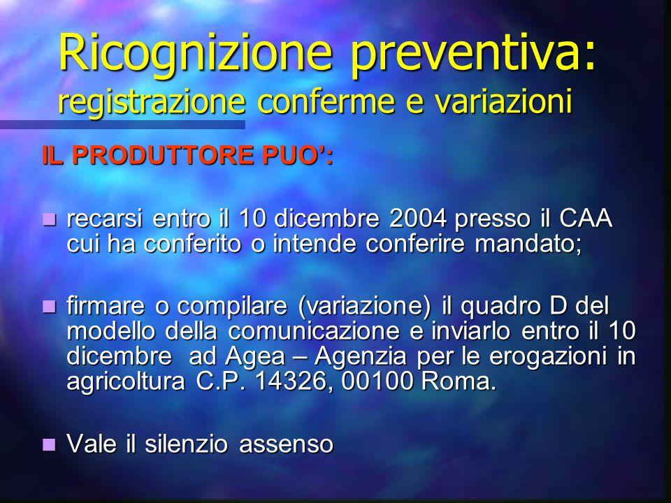 Ricognizione preventiva: registrazione conferme e variazioni IL PRODUTTORE PUO: recarsi entro il 10 dicembre 2004 presso il CAA cui ha conferito o int