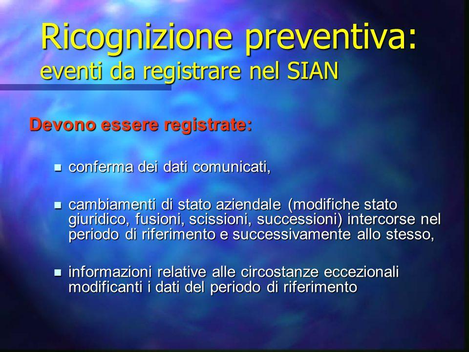 Ricognizione preventiva: eventi da registrare nel SIAN Devono essere registrate: conferma dei dati comunicati, conferma dei dati comunicati, cambiamen