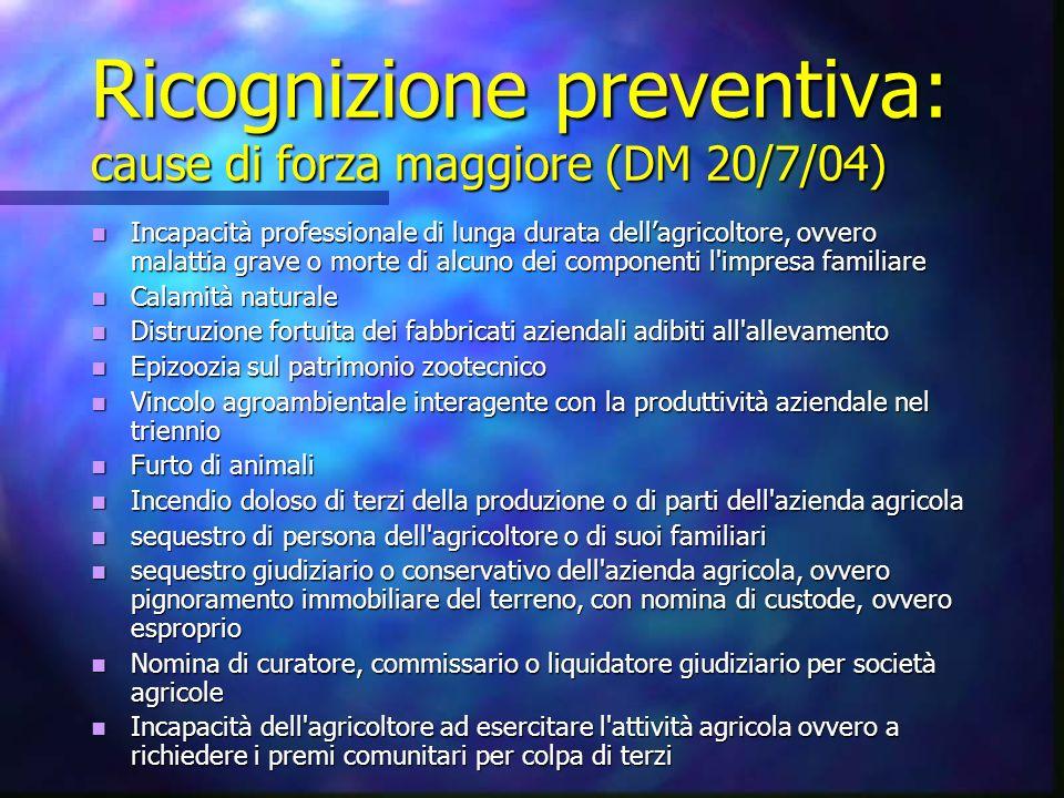 Ricognizione preventiva: cause di forza maggiore (DM 20/7/04) Incapacità professionale di lunga durata dellagricoltore, ovvero malattia grave o morte