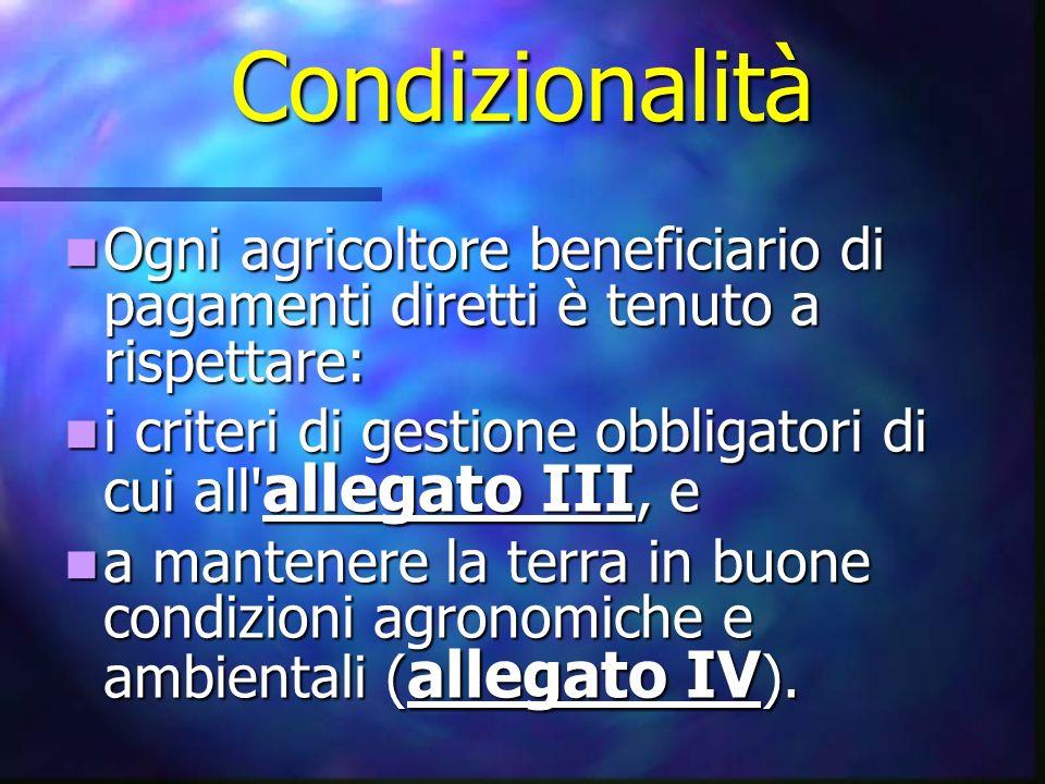 Condizionalità Ogni agricoltore beneficiario di pagamenti diretti è tenuto a rispettare: Ogni agricoltore beneficiario di pagamenti diretti è tenuto a