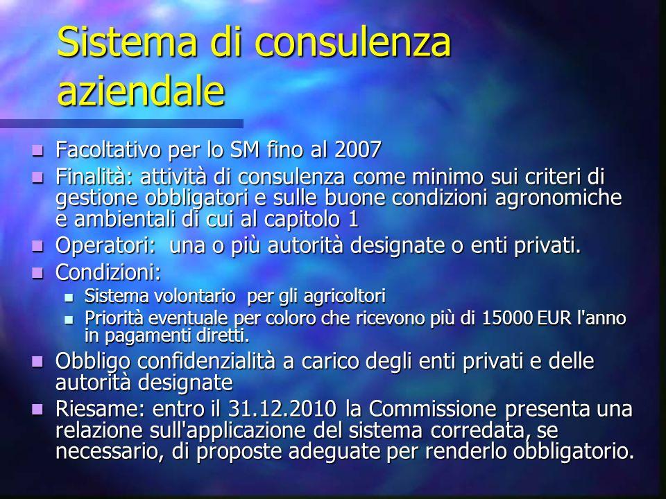 Sistema di consulenza aziendale Facoltativo per lo SM fino al 2007 Facoltativo per lo SM fino al 2007 Finalità: attività di consulenza come minimo sui