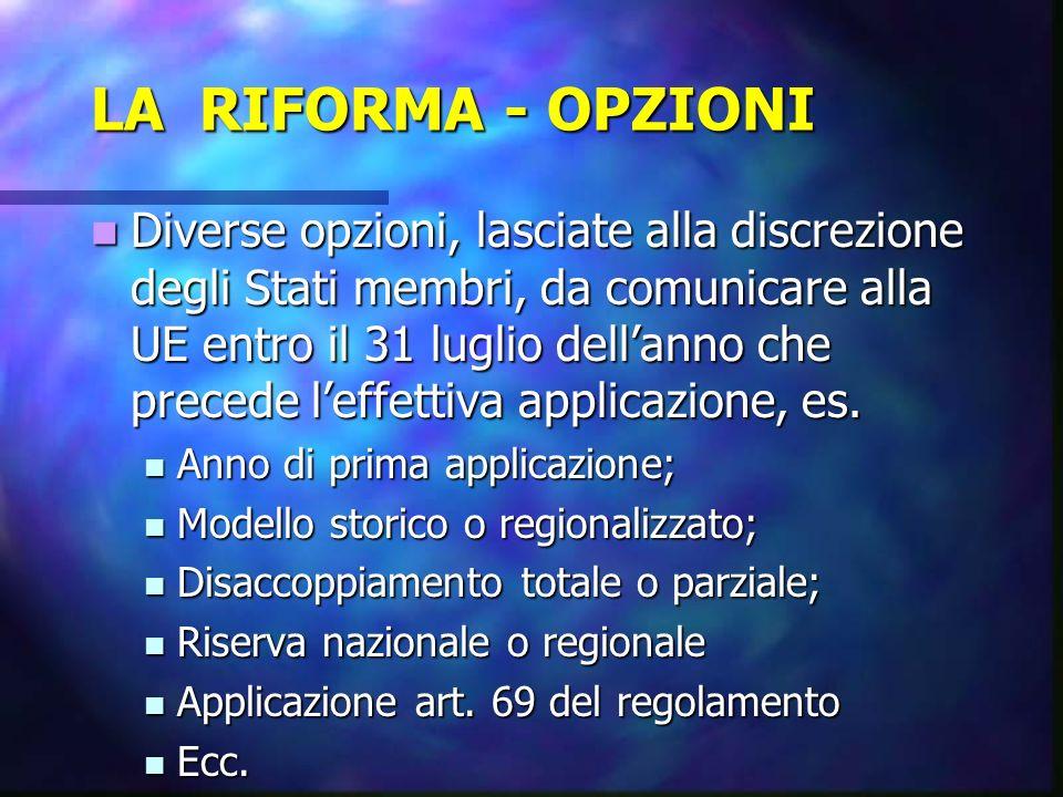 LA RIFORMA - OPZIONI Diverse opzioni, lasciate alla discrezione degli Stati membri, da comunicare alla UE entro il 31 luglio dellanno che precede leff