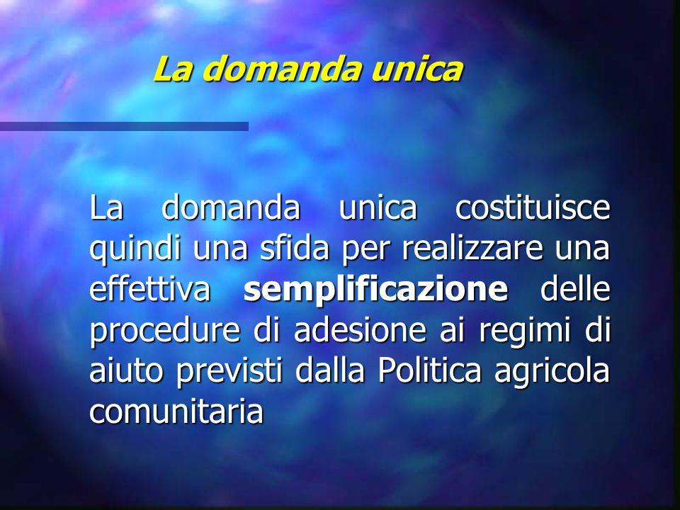 La domanda unica La domanda unica costituisce quindi una sfida per realizzare una effettiva semplificazione delle procedure di adesione ai regimi di a