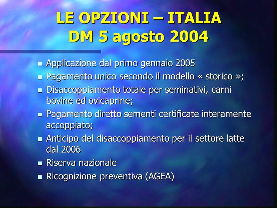 LE OPZIONI – ITALIA DM 5 agosto 2004 Applicazione dal primo gennaio 2005 Applicazione dal primo gennaio 2005 Pagamento unico secondo il modello « stor