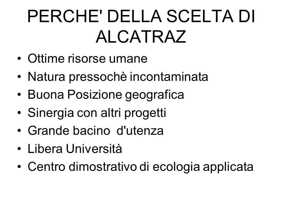 PERCHE' DELLA SCELTA DI ALCATRAZ Ottime risorse umane Natura pressochè incontaminata Buona Posizione geografica Sinergia con altri progetti Grande bac