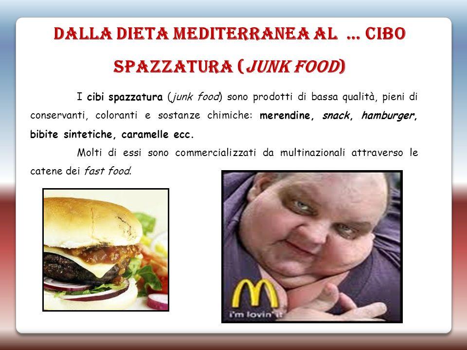 DALLA DIETA MEDITERRANEA AL … CIBO SPAZZATURA (JUNK FOOD) I cibi spazzatura (junk food) sono prodotti di bassa qualità, pieni di conservanti, colorant