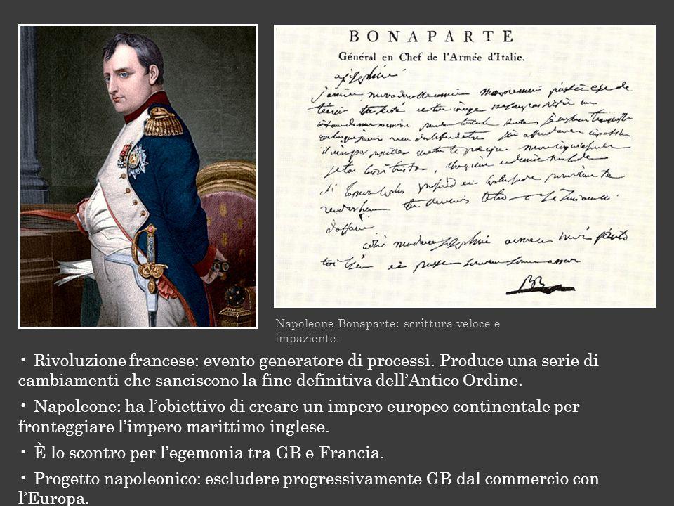 Napoleone Bonaparte: scrittura veloce e impaziente. Rivoluzione francese: evento generatore di processi. Produce una serie di cambiamenti che sancisco