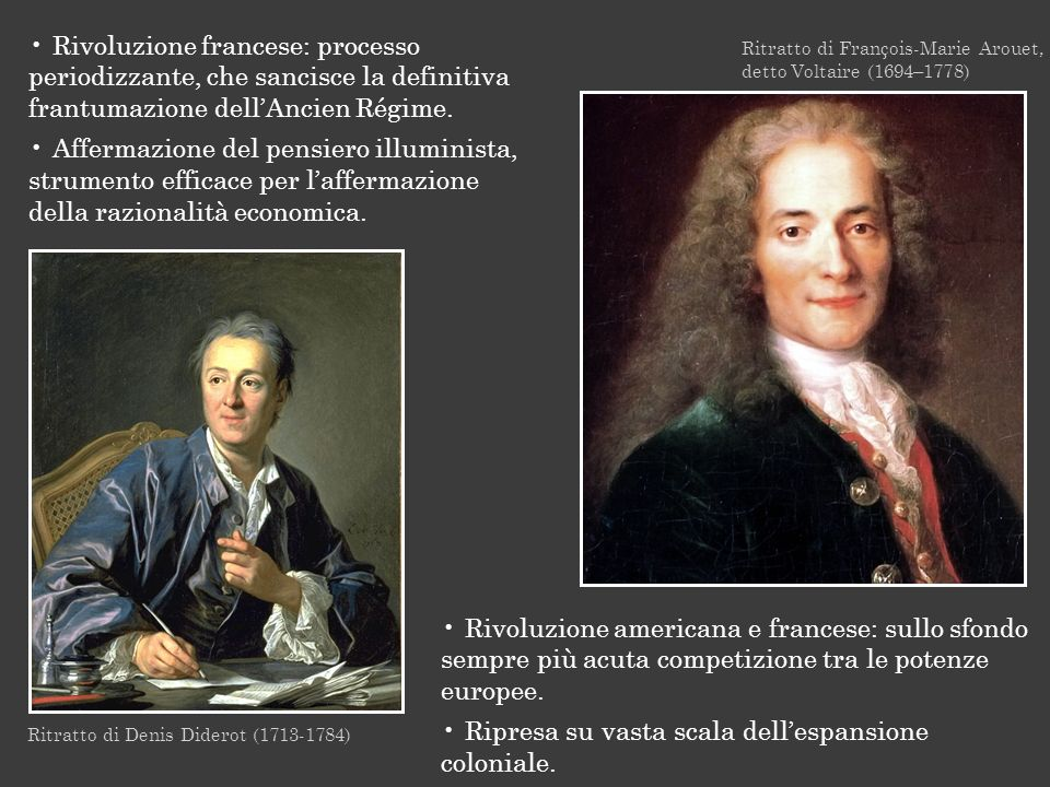 Ritratto di François-Marie Arouet, detto Voltaire (1694–1778) Rivoluzione americana e francese: sullo sfondo sempre più acuta competizione tra le pote