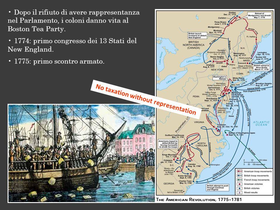 No taxation without representation Dopo il rifiuto di avere rappresentanza nel Parlamento, i coloni danno vita al Boston Tea Party. 1774: primo congre