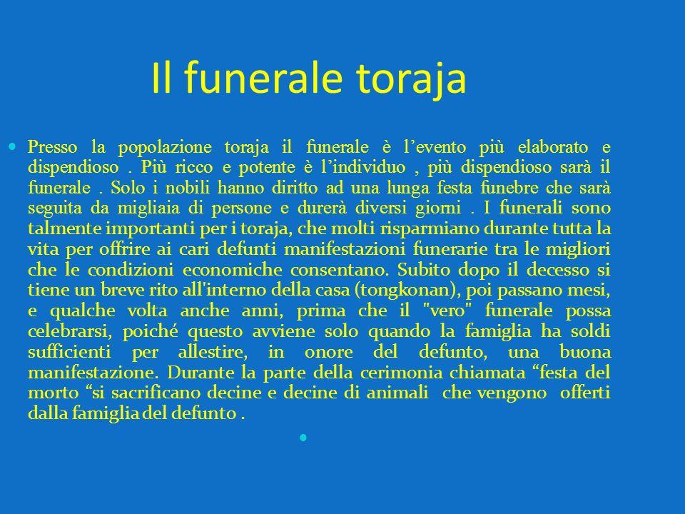 Il funerale toraja Presso la popolazione toraja il funerale è levento più elaborato e dispendioso. Più ricco e potente è lindividuo, più dispendioso s