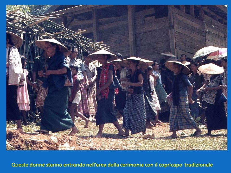Queste donne stanno entrando nellarea della cerimonia con il copricapo tradizionale