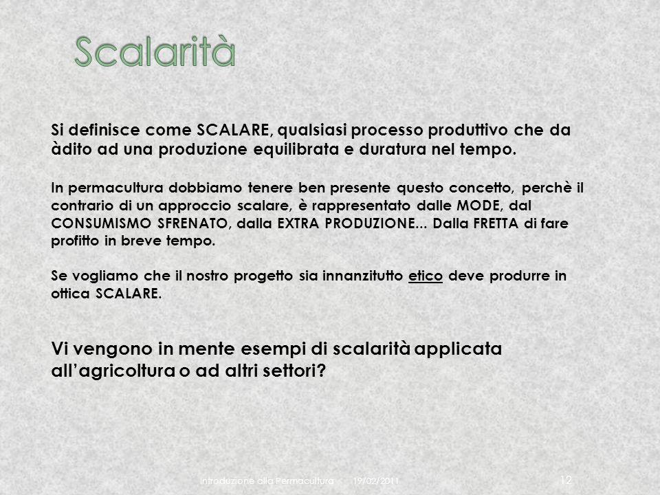 19/02/2011 Introduzione alla Permacultura 12 Si definisce come SCALARE, qualsiasi processo produttivo che da àdito ad una produzione equilibrata e dur