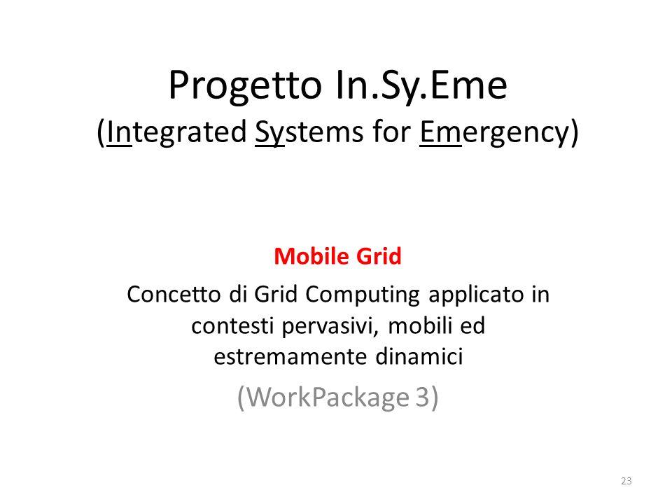 Progetto In.Sy.Eme (Integrated Systems for Emergency) Mobile Grid Concetto di Grid Computing applicato in contesti pervasivi, mobili ed estremamente d