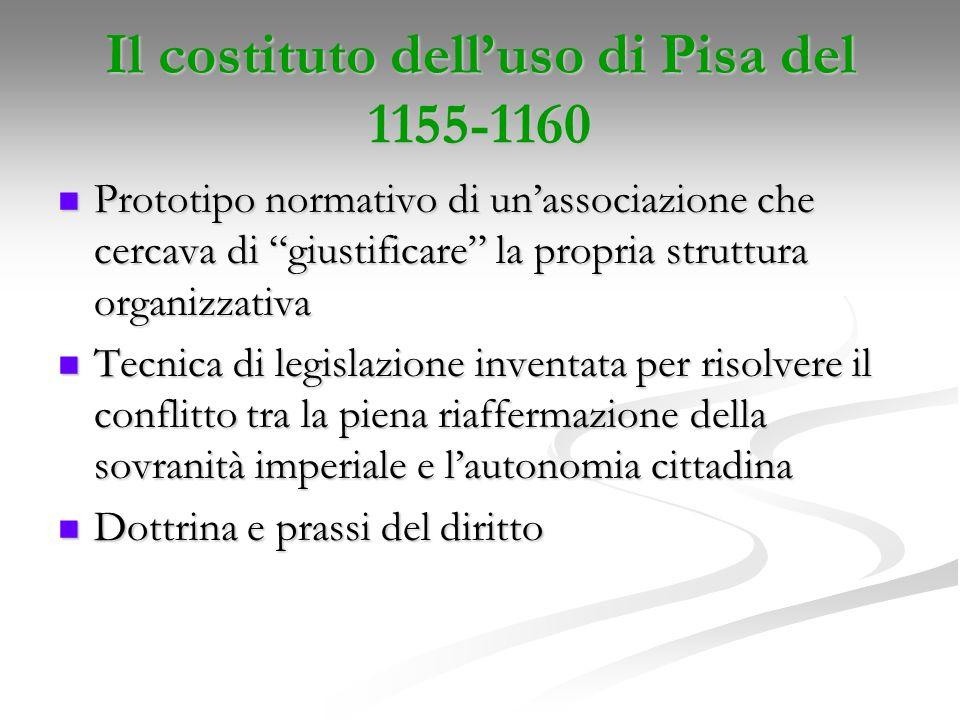 Il costituto delluso di Pisa del 1155-1160 Prototipo normativo di unassociazione che cercava di giustificare la propria struttura organizzativa Protot