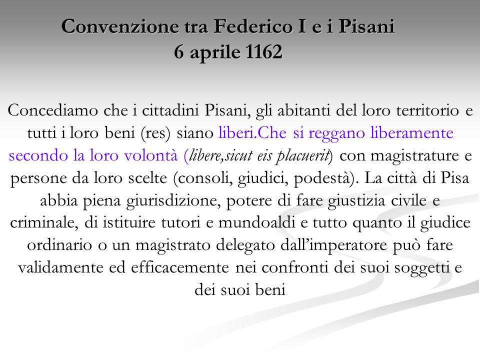 Convenzione tra Federico I e i Pisani 6 aprile 1162 Concediamo che i cittadini Pisani, gli abitanti del loro territorio e tutti i loro beni (res) sian