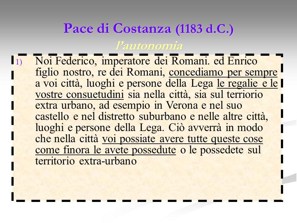 Pace di Costanza (1183 d.C.) lautonomia 1) Noi Federico, imperatore dei Romani. ed Enrico figlio nostro, re dei Romani, concediamo per sempre a voi ci