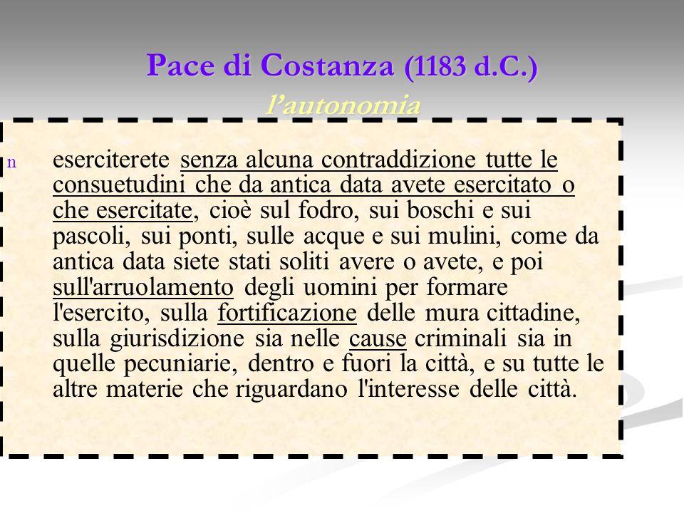 Pace di Costanza (1183 d.C.) lautonomia n eserciterete senza alcuna contraddizione tutte le consuetudini che da antica data avete esercitato o che ese