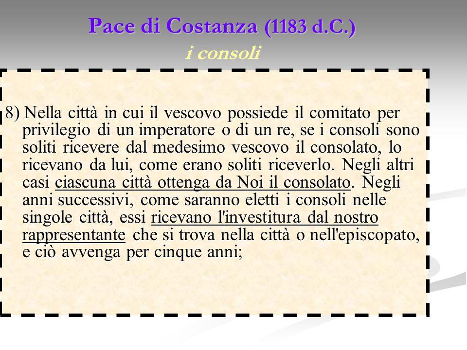 Pace di Costanza (1183 d.C.) i consoli 8) Nella città in cui il vescovo possiede il comitato per privilegio di un imperatore o di un re, se i consoli