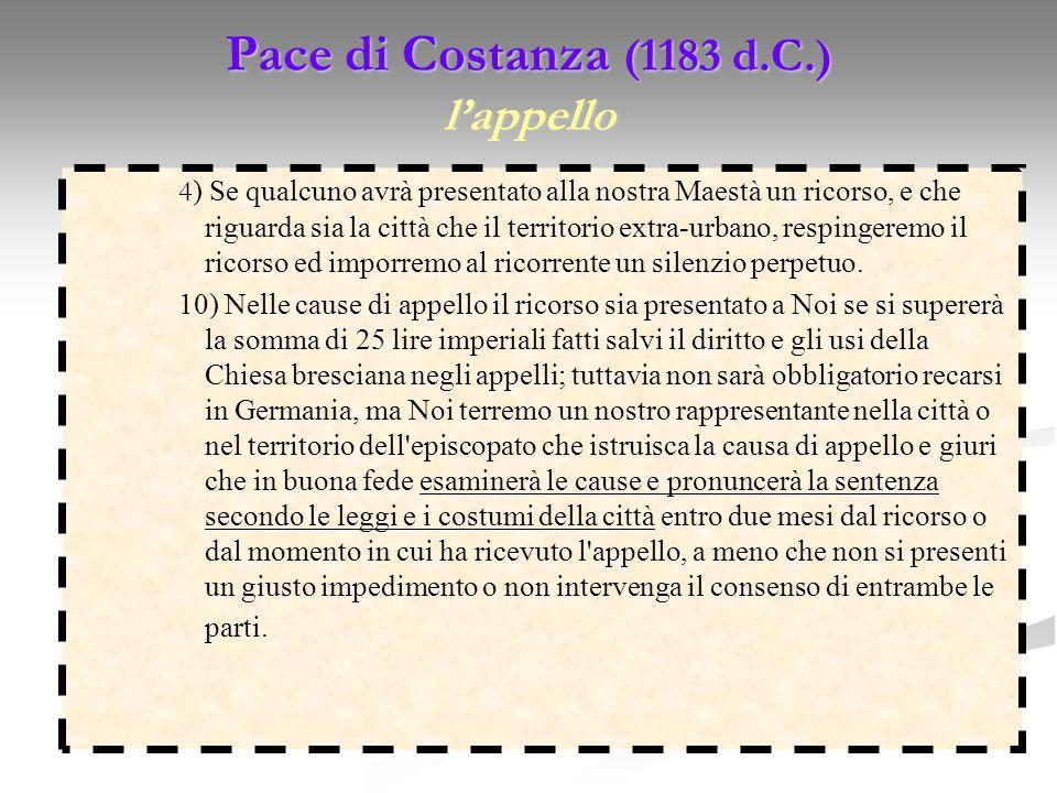 Pace di Costanza (1183 d.C.) lappello 4 ) Se qualcuno avrà presentato alla nostra Maestà un ricorso, e che riguarda sia la città che il territorio ext