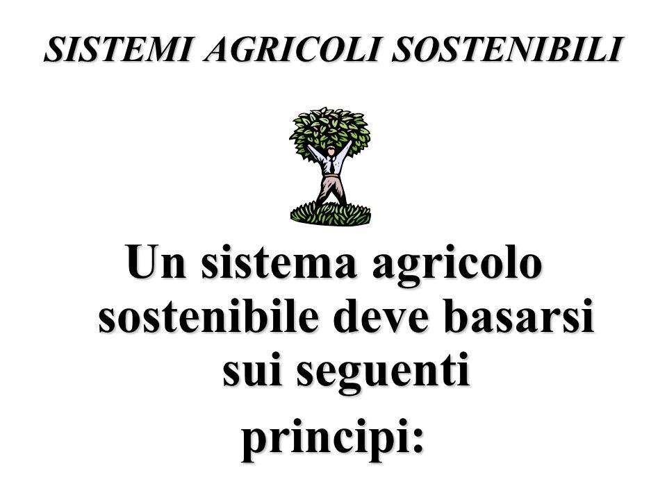 SISTEMI AGRICOLI SOSTENIBILI Un sistema agricolo sostenibile deve basarsi sui seguenti principi: