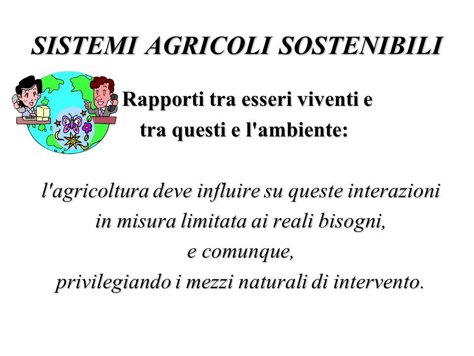 SISTEMI AGRICOLI SOSTENIBILI Rapporti tra esseri viventi e Rapporti tra esseri viventi e tra questi e l'ambiente: tra questi e l'ambiente: l'agricoltu