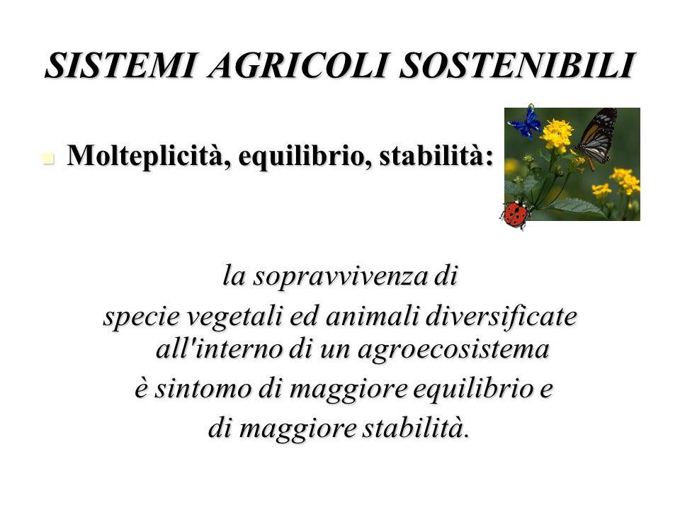 SISTEMI AGRICOLI SOSTENIBILI Molteplicità, equilibrio, stabilità: Molteplicità, equilibrio, stabilità: la sopravvivenza di specie vegetali ed animali