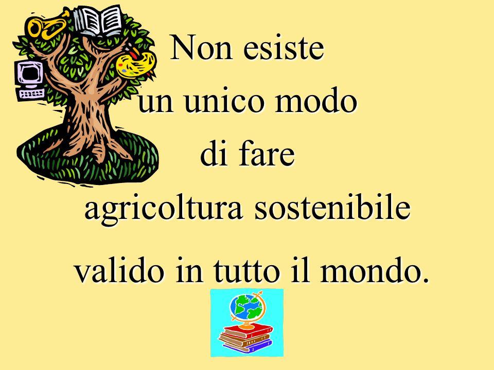 Non esiste un unico modo di fare agricoltura sostenibile valido in tutto il mondo. valido in tutto il mondo.