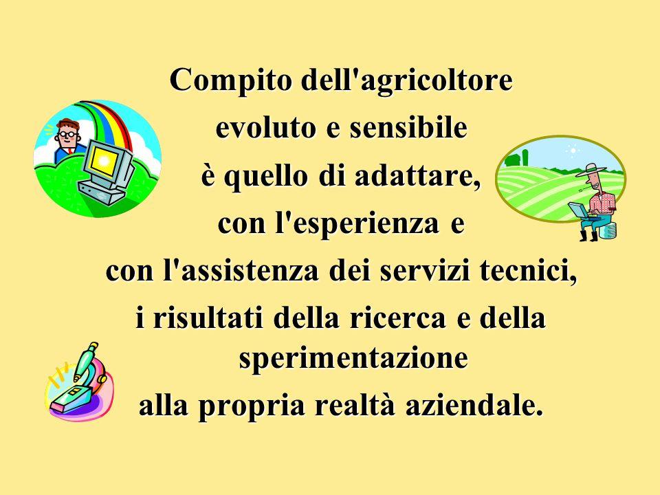 Compito dell'agricoltore evoluto e sensibile è quello di adattare, con l'esperienza e con l'assistenza dei servizi tecnici, i risultati della ricerca