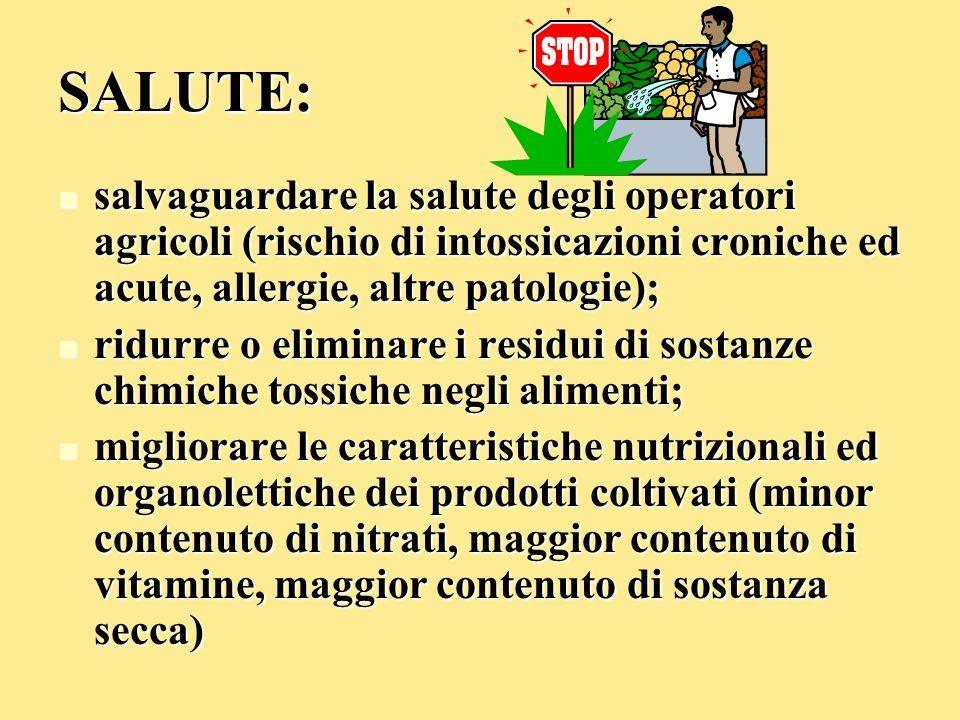 SALUTE: salvaguardare la salute degli operatori agricoli (rischio di intossicazioni croniche ed acute, allergie, altre patologie); salvaguardare la sa