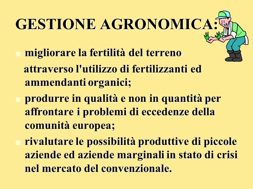 GESTIONE AGRONOMICA: migliorare la fertilità del terreno migliorare la fertilità del terreno attraverso l'utilizzo di fertilizzanti ed ammendanti orga