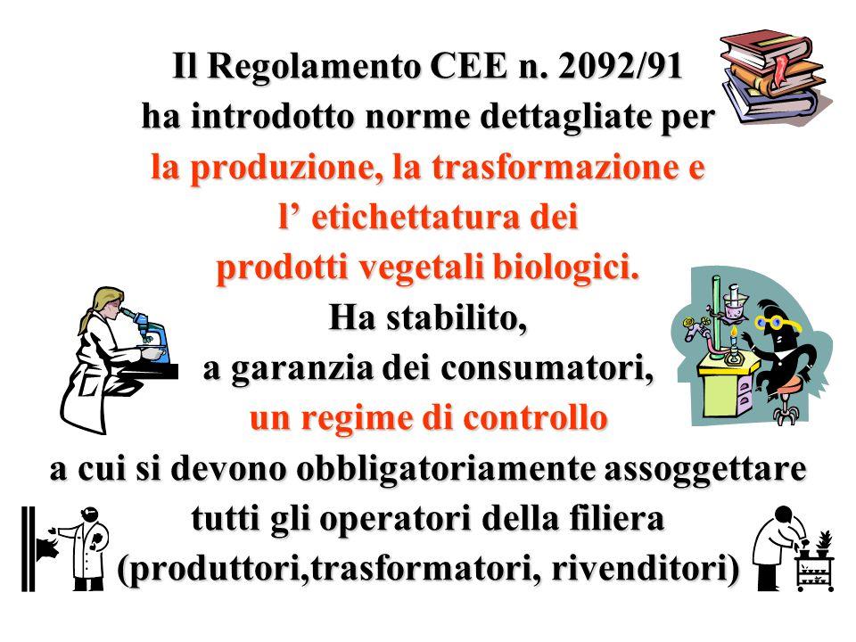 Il Regolamento CEE n. 2092/91 ha introdotto norme dettagliate per la produzione, la trasformazione e l etichettatura dei prodotti vegetali biologici.