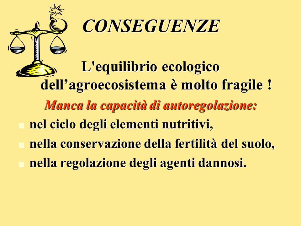 CONSEGUENZE L'equilibrio ecologico dellagroecosistema è molto fragile ! Manca la capacità di autoregolazione: nel ciclo degli elementi nutritivi, nel
