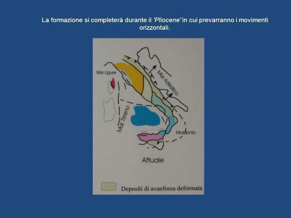 La formazione si completerà durante il 'Pliocene' in cui prevarranno i movimenti orizzontali.