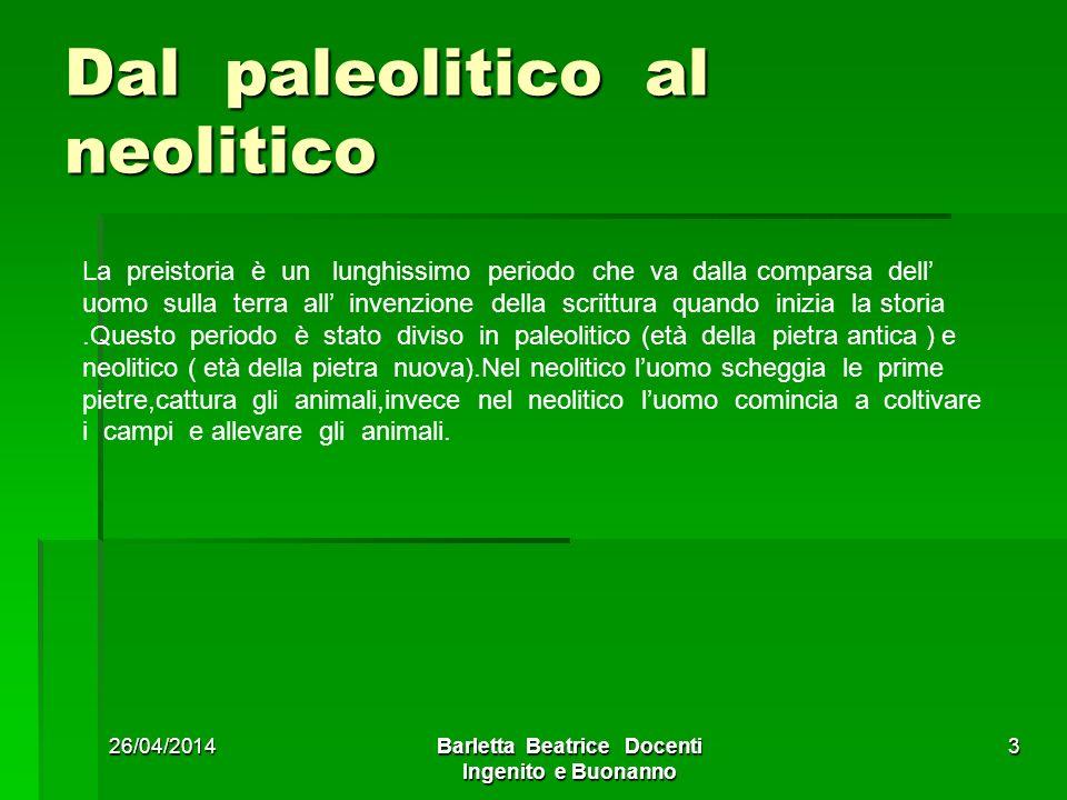 26/04/2014Barletta Beatrice Docenti Ingenito e Buonanno 3 Dal paleolitico al neolitico La preistoria è un lunghissimo periodo che va dalla comparsa de