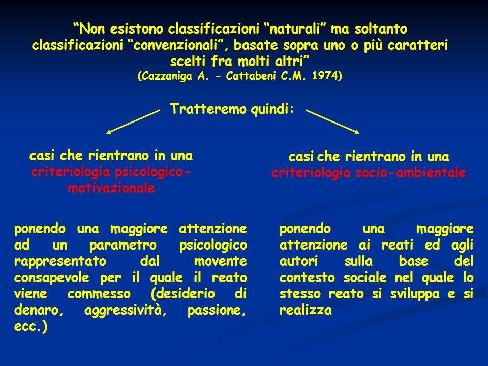 Non esistono classificazioni naturali ma soltanto classificazioni convenzionali, basate sopra uno o più caratteri scelti fra molti altri (Cazzaniga A.