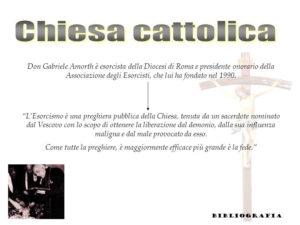 Don Gabriele Amorth è esorcista della Diocesi di Roma e presidente onorario della Associazione degli Esorcisti, che lui ha fondato nel 1990. LEsorcism