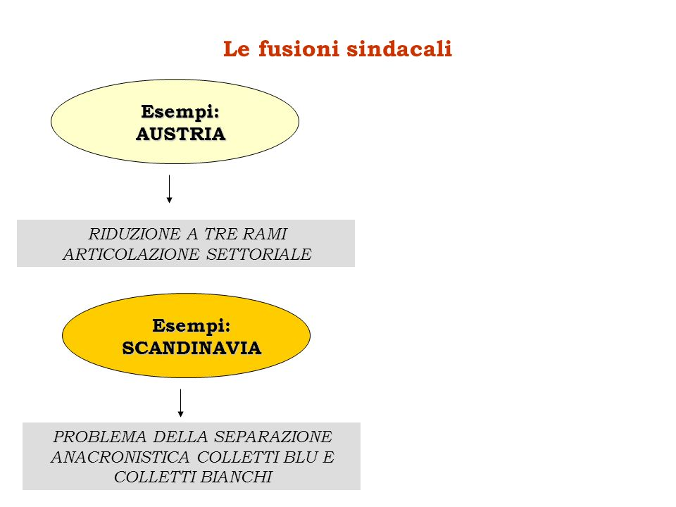 Le fusioni sindacali Esempi:AUSTRIA RIDUZIONE A TRE RAMI ARTICOLAZIONE SETTORIALE Esempi:SCANDINAVIA PROBLEMA DELLA SEPARAZIONE ANACRONISTICA COLLETTI