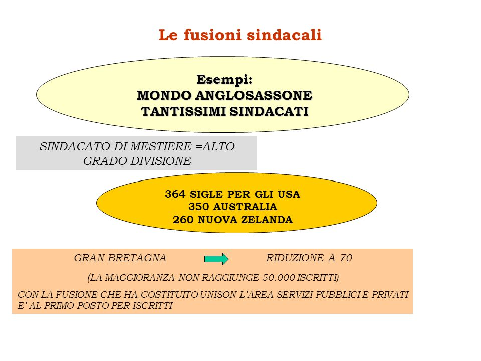 Le fusioni sindacali Esempi: MONDO ANGLOSASSONE TANTISSIMI SINDACATI SINDACATO DI MESTIERE =ALTO GRADO DIVISIONE 364 SIGLE PER GLI USA 350 AUSTRALIA 2