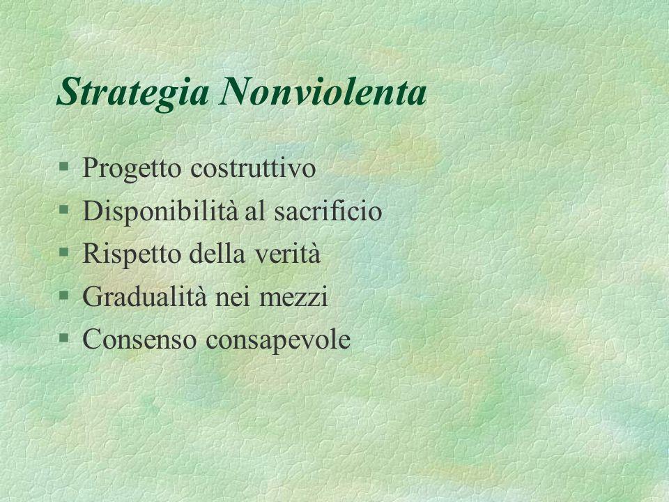Strategia Nonviolenta §Progetto costruttivo §Disponibilità al sacrificio §Rispetto della verità §Gradualità nei mezzi §Consenso consapevole