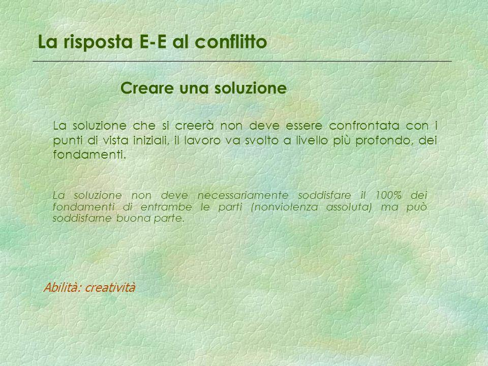 La risposta E-E al conflitto Creare una soluzione La soluzione che si creerà non deve essere confrontata con i punti di vista iniziali, il lavoro va s