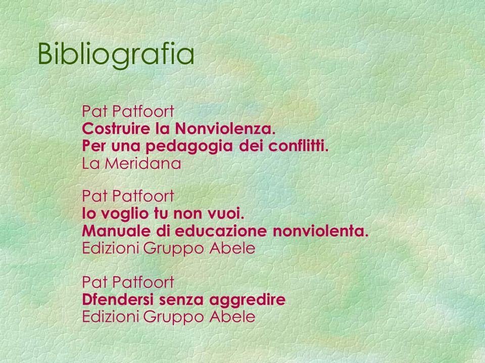 Bibliografia Pat Patfoort Costruire la Nonviolenza. Per una pedagogia dei conflitti. La Meridana Pat Patfoort Io voglio tu non vuoi. Manuale di educaz