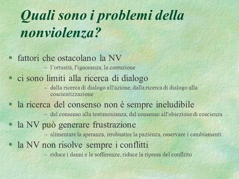 Quali sono i problemi della nonviolenza? §fattori che ostacolano la NV –lottusità, l'ignoranza, la corruzione §ci sono limiti alla ricerca di dialogo