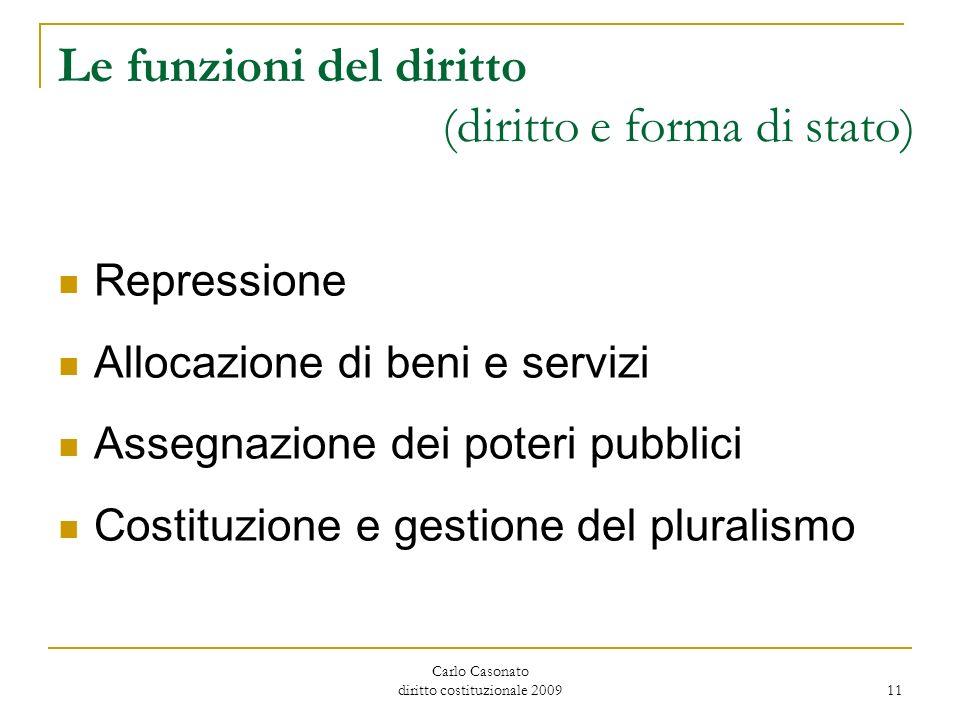 Carlo Casonato diritto costituzionale 2009 11 Le funzioni del diritto (diritto e forma di stato) Repressione Allocazione di beni e servizi Assegnazion