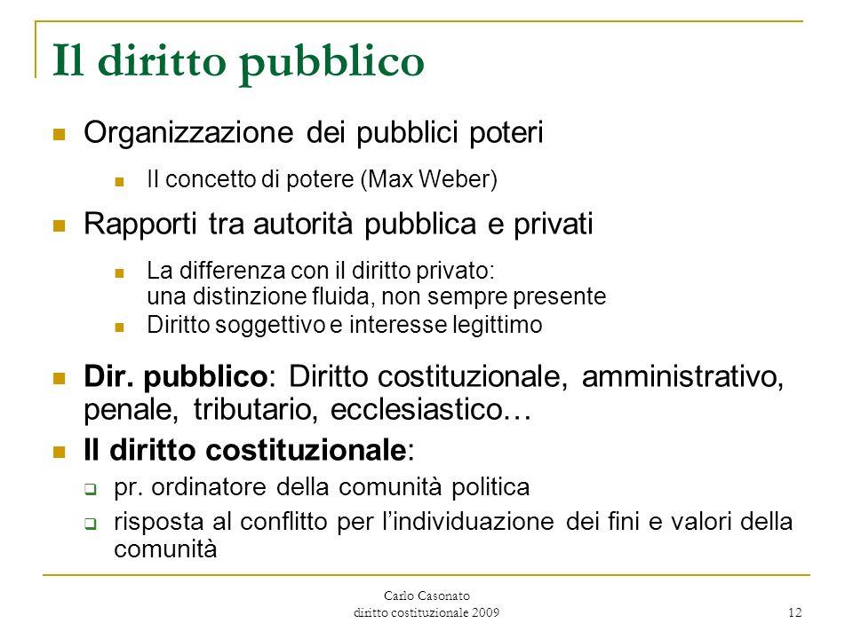 Carlo Casonato diritto costituzionale 2009 12 Il diritto pubblico Organizzazione dei pubblici poteri Il concetto di potere (Max Weber) Rapporti tra au