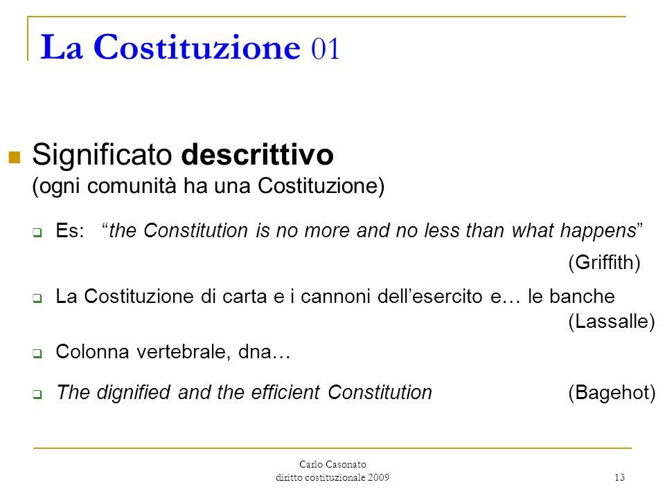 Carlo Casonato diritto costituzionale 2009 13 La Costituzione 01 Significato descrittivo (ogni comunità ha una Costituzione) Es: the Constitution is n
