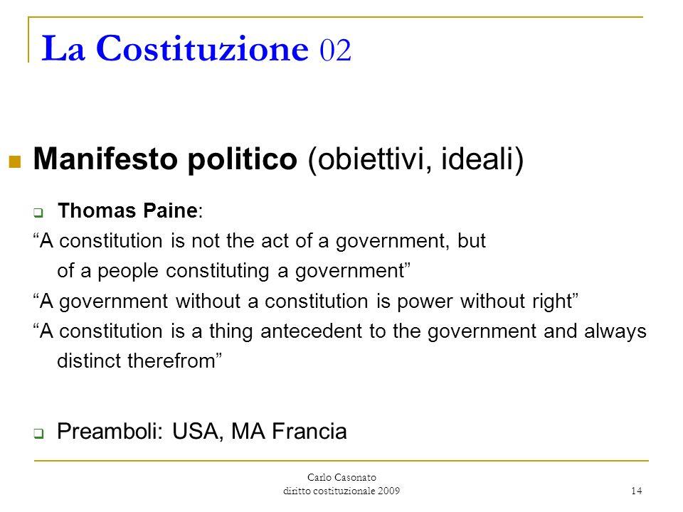 Carlo Casonato diritto costituzionale 2009 14 La Costituzione 02 Manifesto politico (obiettivi, ideali) Thomas Paine: A constitution is not the act of