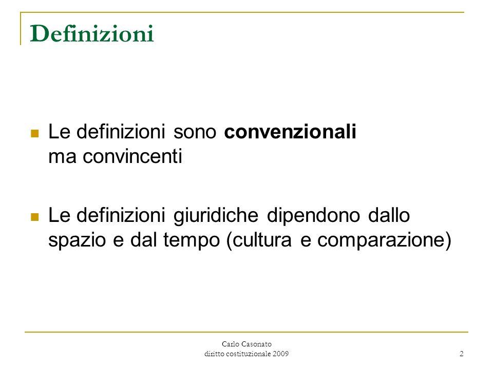 Carlo Casonato diritto costituzionale 2009 2 Definizioni Le definizioni sono convenzionali ma convincenti Le definizioni giuridiche dipendono dallo sp