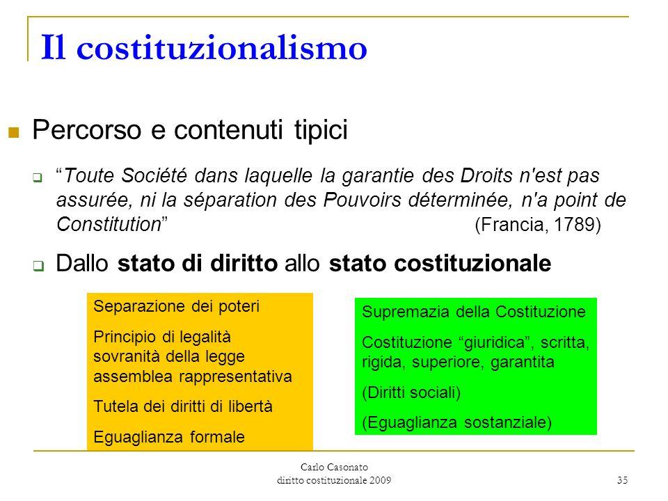 Carlo Casonato diritto costituzionale 2009 35 Il costituzionalismo Percorso e contenuti tipici Toute Société dans laquelle la garantie des Droits n'es